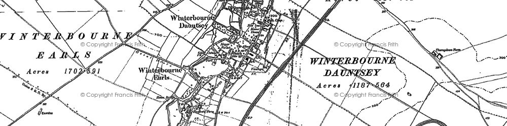 Old map of Winterbourne Earls in 1899