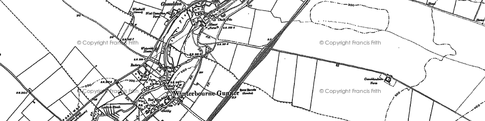 Old map of Winterbourne Gunner in 1899