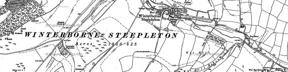 Old map of Winterbourne Steepleton in 1886