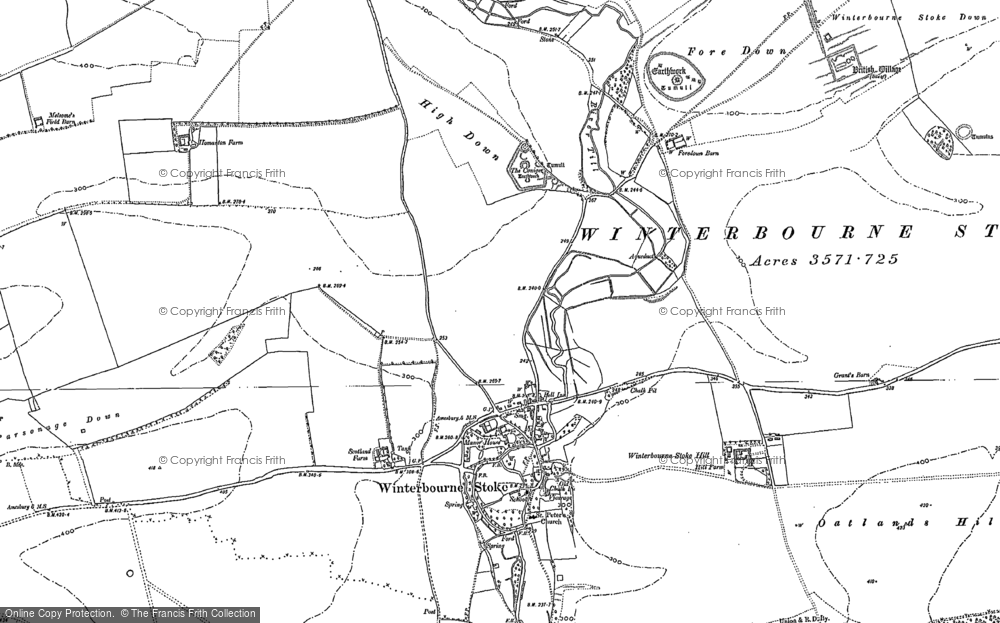 Old Map of Historic Map covering Airman's Corner in 1899