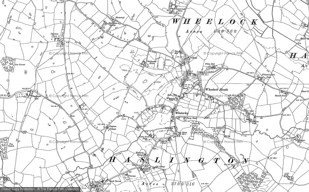 Old Map of Historic Map covering Wheelock Heath in 1897