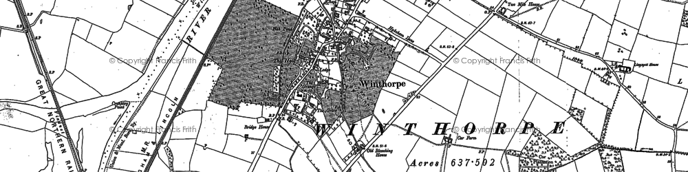 Old map of Winthorpe in 1884