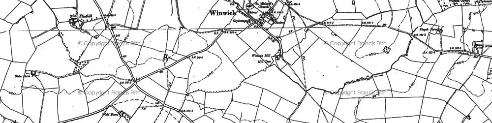 Old map of Winwick Lodge in 1884