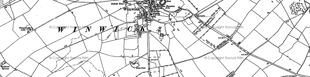 Old map of Winwick in 1887