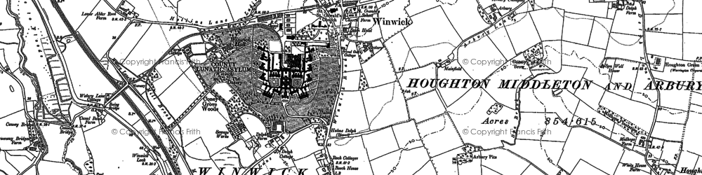 Old map of Winwick in 1891