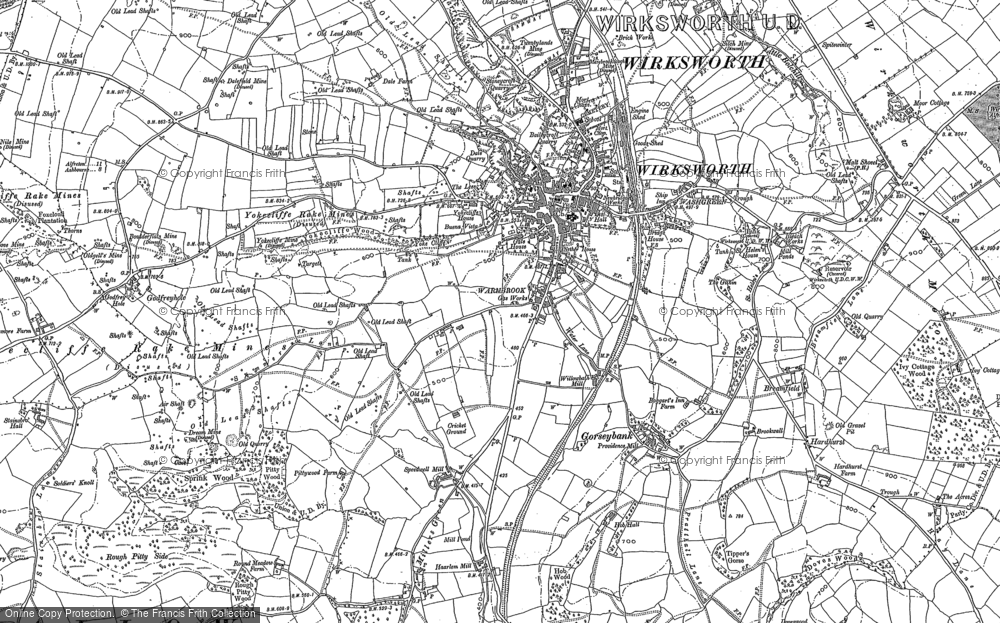 Old Map of Historic Map covering Ashleyhay in 1879