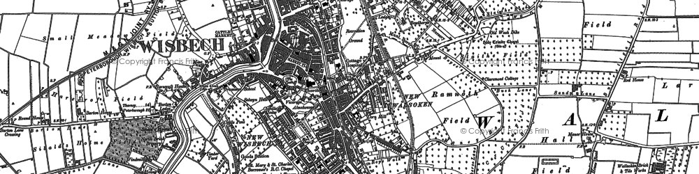 Old map of Wisbech in 1900
