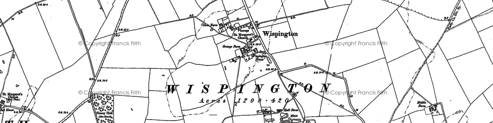 Old map of Wispington in 1886