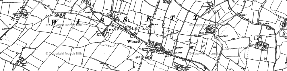 Old map of Wissett Lodge in 1883