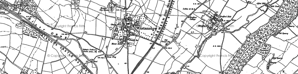 Old map of Wistanstow in 1883