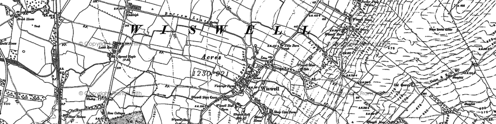 Old map of Wiswell Moor Houses in 1892