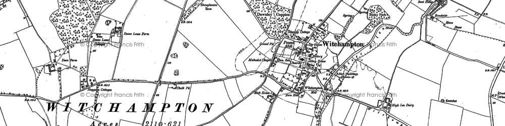 Old map of Witchampton in 1887