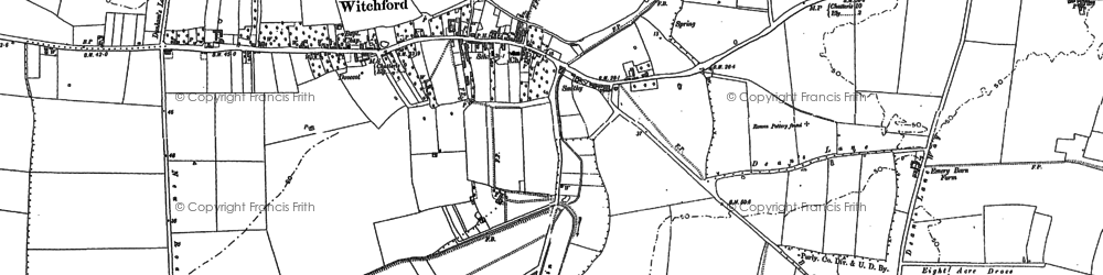 Old map of Witchford in 1885