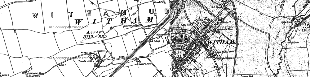 Old map of Witham in 1895