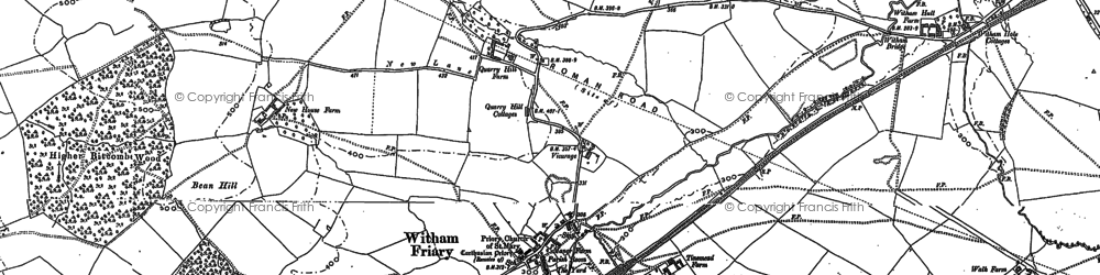 Old map of Witham Friary in 1902