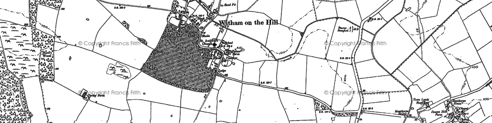 Old map of Witham on the Hill in 1886