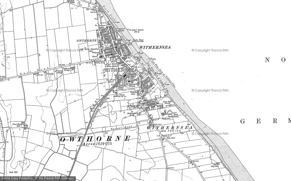 Old Map of Withernsea, 1908 in 1908