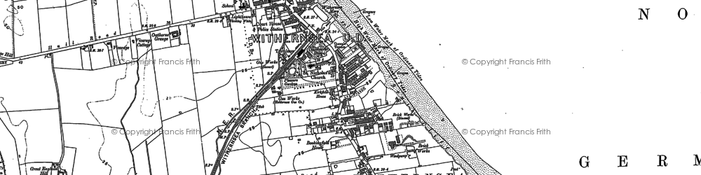 Old map of Withernsea in 1908