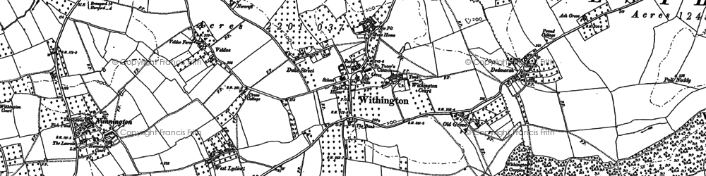 Old map of Withington in 1886