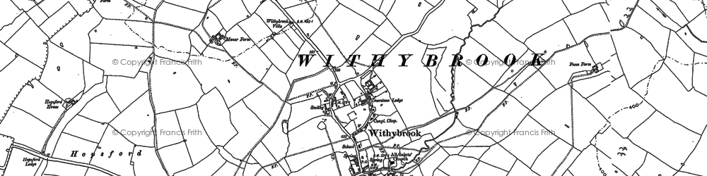 Old map of Withybrook Spinney in 1886