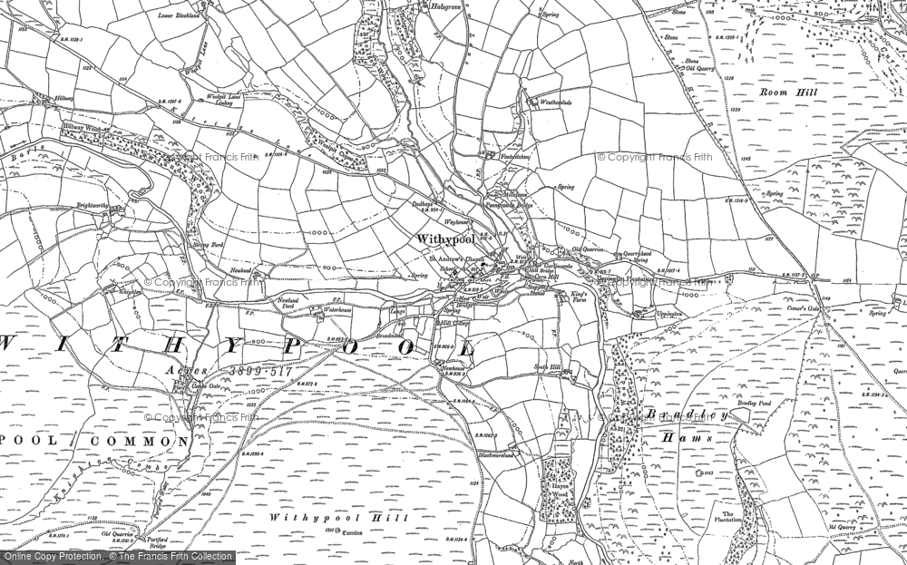 Map of Withypool, 1887 - 1902