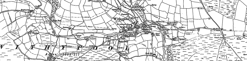 Old map of Withypool in 1887