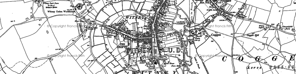Old map of Witney in 1898