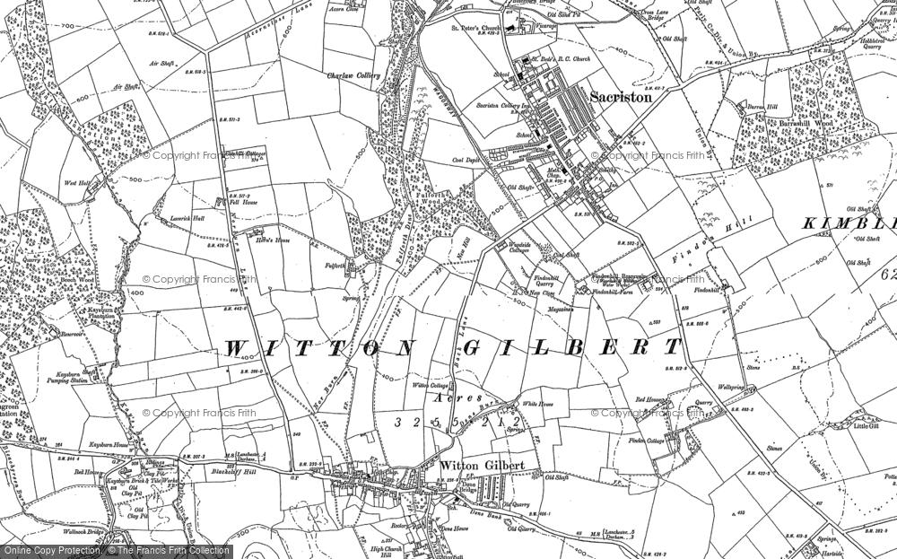 Map of Witton Gilbert, 1895