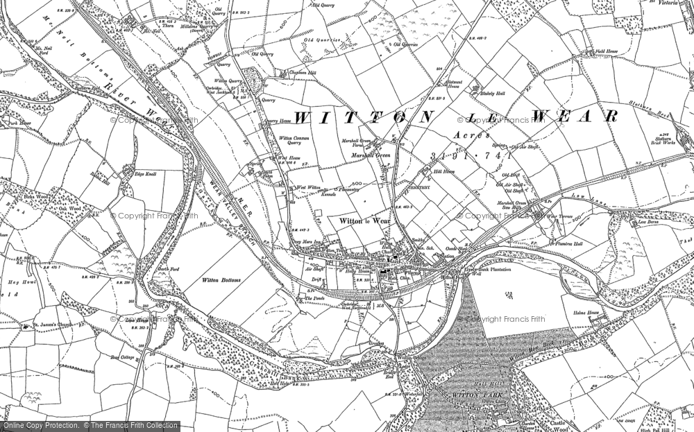 Map of Witton-le-Wear, 1896