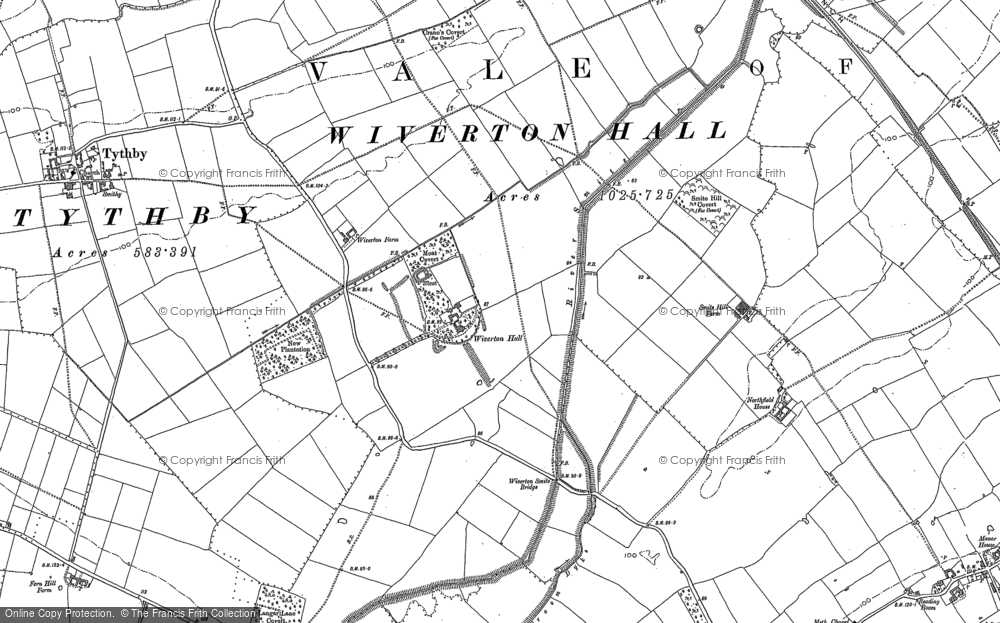 Old Map of Historic Map covering Whatton Fields in 1883