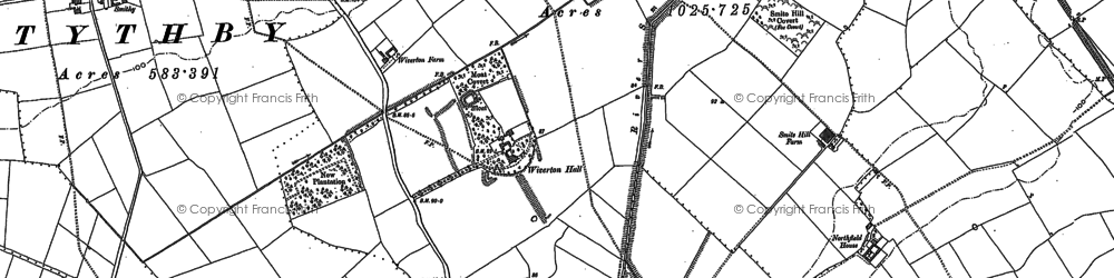 Old map of Whatton Fields in 1883