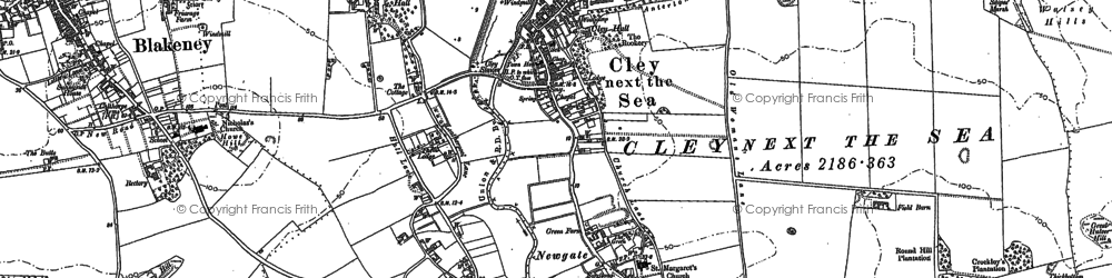 Old map of Wiveton in 1886