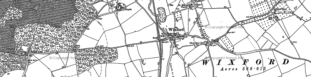 Old map of Wixford in 1885