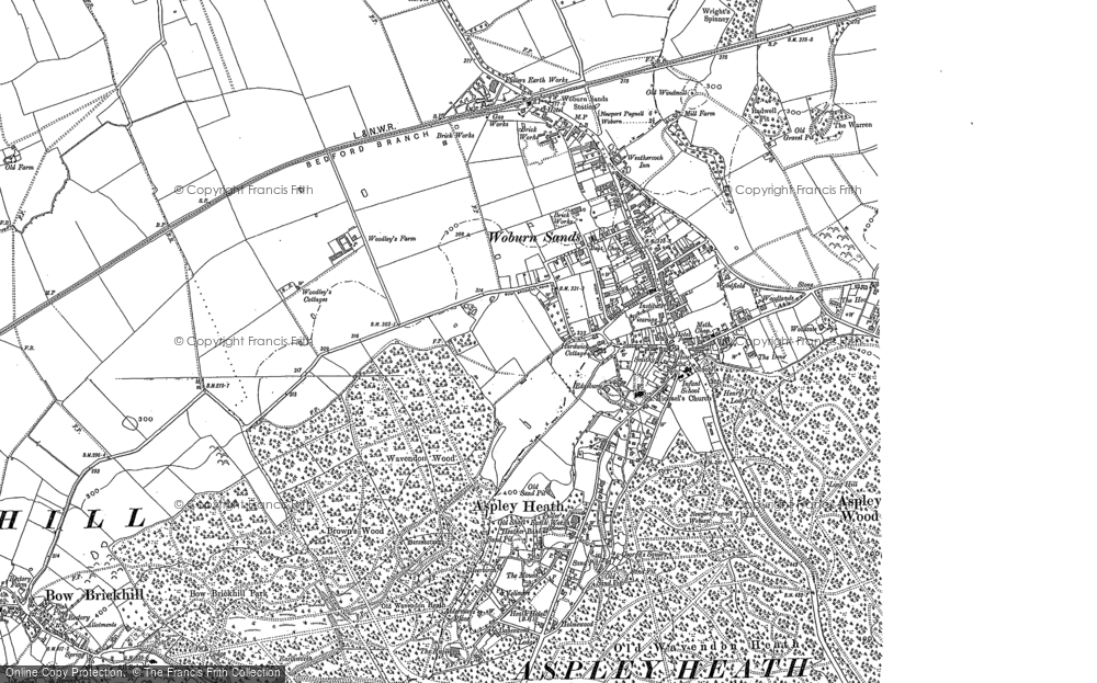 Old Map of Historic Map covering Aspley Wood in 1900