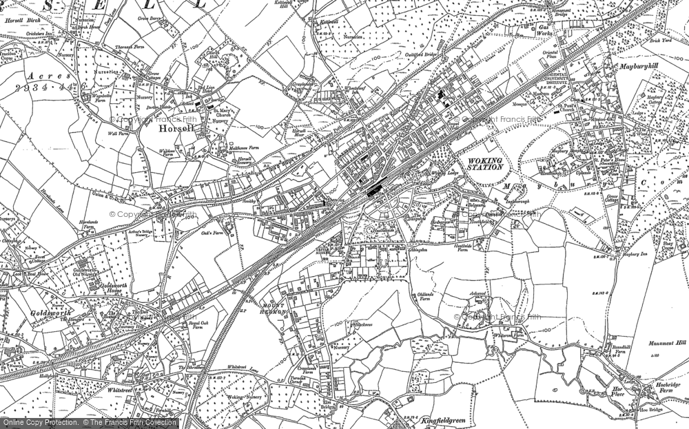 Map of Woking, 1895