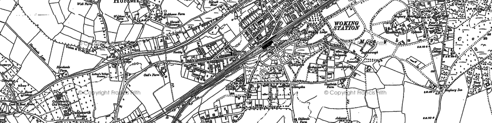 Old map of Woking in 1895