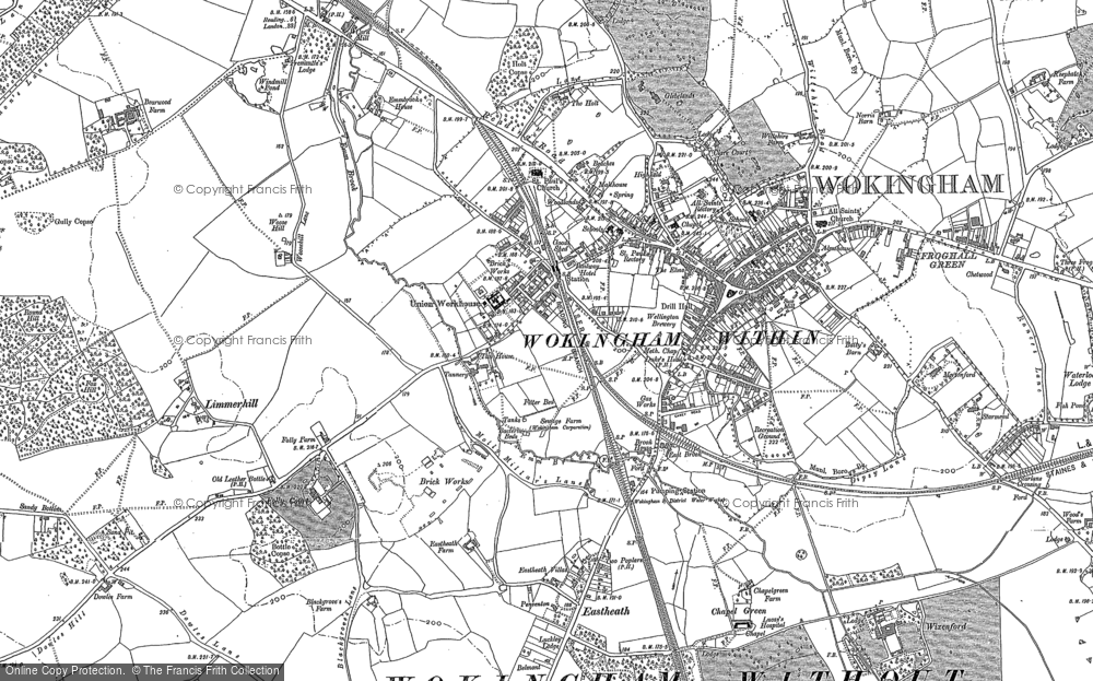 Map of Wokingham, 1898 - 1910