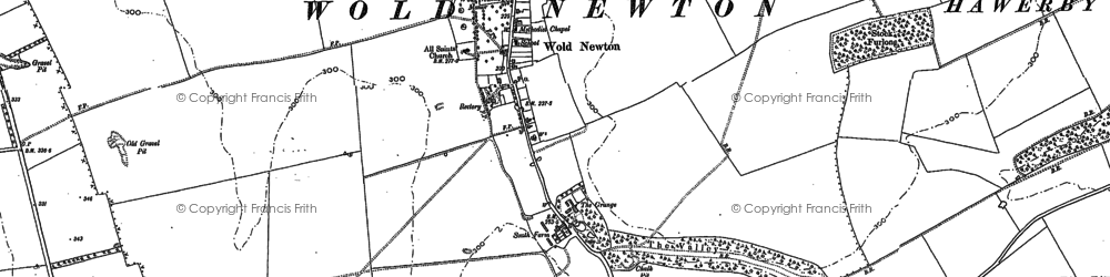 Old map of Wold Newton in 1887