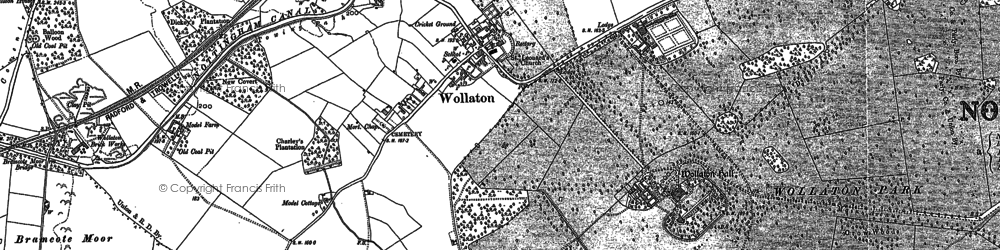 Old map of Wollaton in 1881