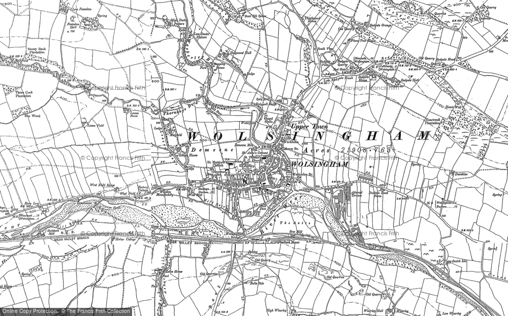 Old Map of Wolsingham, 1895 - 1896 in 1895