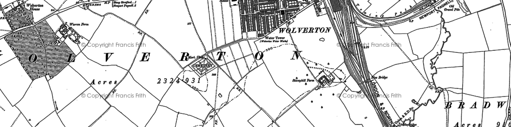 Old map of Wolverton in 1898
