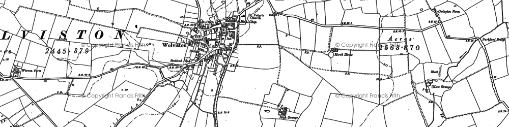 Old map of Wolviston in 1856