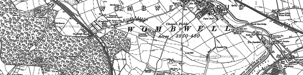 Old map of Wombwell in 1851