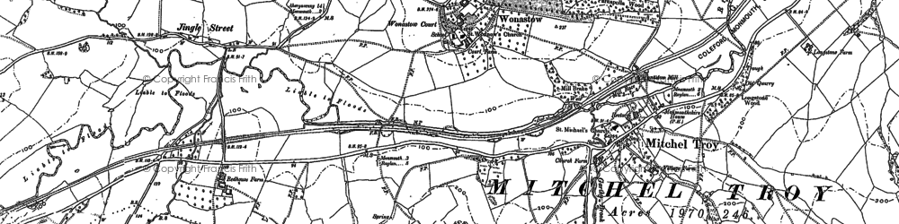 Old map of Treowen in 1900