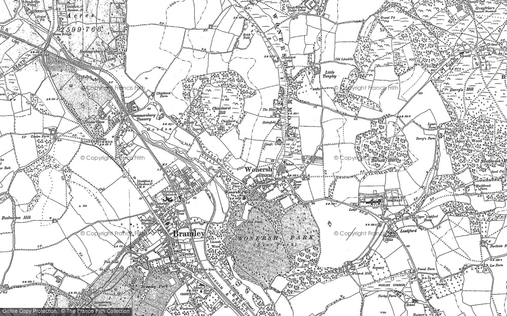 Old Map of Wonersh, 1895 in 1895
