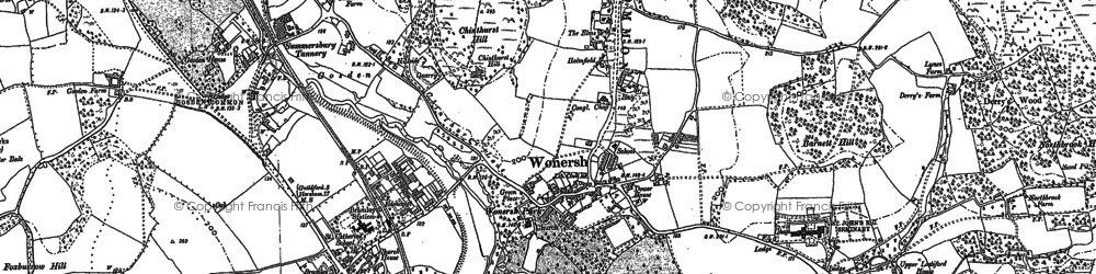 Old map of Wonersh in 1895