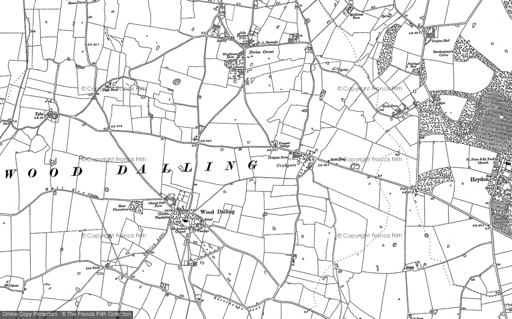 Old Map of Historic Map covering Wood Dalling Hall in 1885