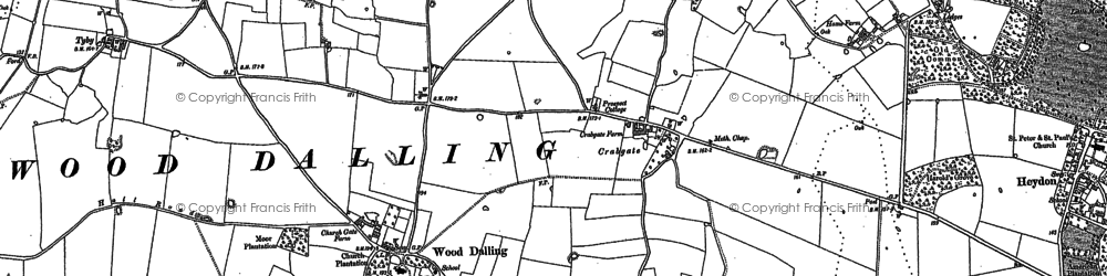 Old map of Wood Dalling in 1885
