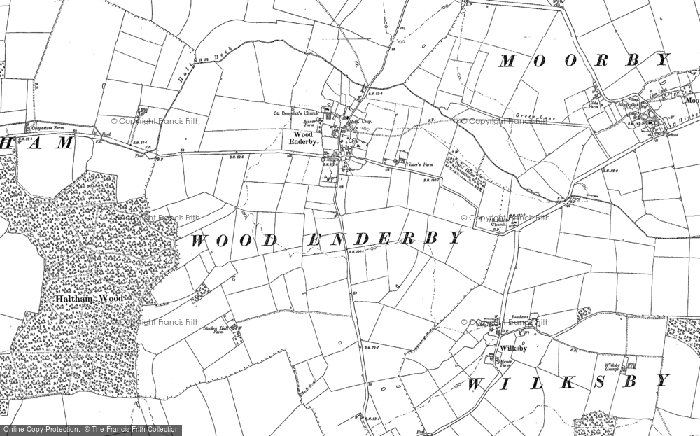 Old Map of Wood Enderby, 1887 in 1887