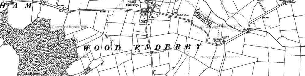 Old map of Wood Enderby in 1887